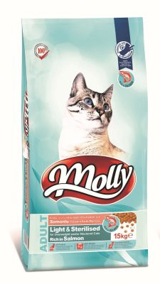 Molly - Molly Light Sterilised Somonlu Kısırlaştırılmış Kedi Maması 15 KG