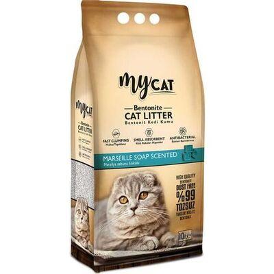 Mycat - Mycat Marselia Sabun Kokulu Topaklaşan Bentonit Kedi Kumu Kalın Tane 10 Lt