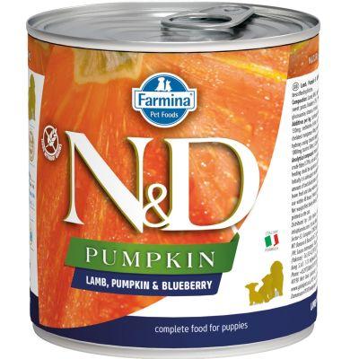 N&D - N&D Balkabaklı Kuzulu Yaban Mersinli Yavru Köpek Konservesi 285 gr