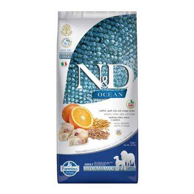 N&D - N&D Düşük Tahıllı Morina Balıklı Portakallı Yetişkin Köpek Maması 12 KG