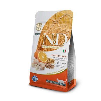 N&D - N&D Düşük Tahıllı Morina Balıklı Portakallı Yetişkin Kedi Maması 5 Kg
