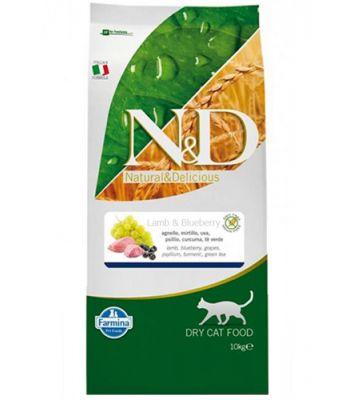 N&D - N&D Tahılsız Kuzulu ve Yaban Mersinli Kedi Maması 10 KG