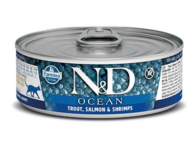 N&D - N&D Ocean Tahılsız Alabalık Somon ve Karidesli Kedi Konservesi 80 Gr