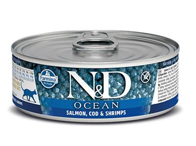 N&D - N&D Ocean Tahılsız Balıklı Karidesli Kedi Konservesi 80 Gr