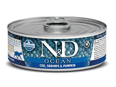 N&D - N&D Ocean Tahılsız Balkabaklı Balıklı Karidesli Kedi Konservesi 80 Gr