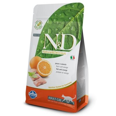 N&D - N&D Tahılsız Balıklı Portakallı Yetişkin Kedi Maması 5 Kg