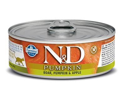 N&D - N&D Tahılsız Balkabaklı Yaban Domuzlu Elmalı Kedi Konservesi 80 Gr