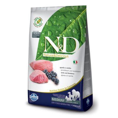 N&D - N&D Tahılsız Kuzulu Yaban Mersinli Yetişkin Köpek Maması 2,5 Kg