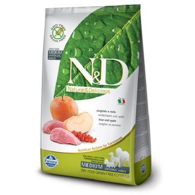N&D - N&D Tahılsız Yaban Domuzlu ve Elmalı Yetişkin Köpek Maması 2,5 Kg