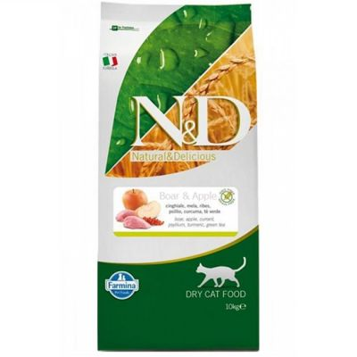 N&D - N&D Tahılsız Yaban Domuzu ve Elmalı Kedi Maması 10 KG