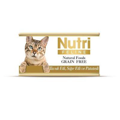 Nutri - Nutri Feline Tahılsız Tavuk ve Sığır Etli Kedi Konservesi 85 Gr