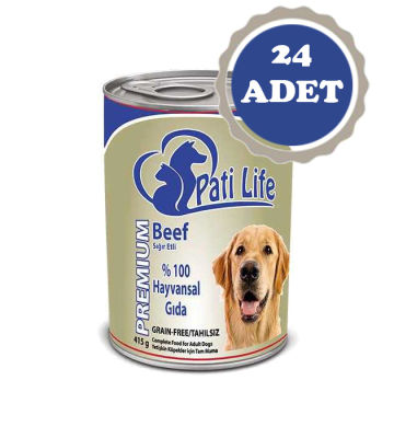 Pati Life - Pati Life Biftekli Yetişkin Köpek Konservesi 400 Gr 24 Adet