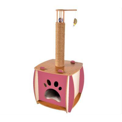 Diğer - Patihomes Oyuncaklı Tırmalamalı Kedi Evi 67x47x40 Cm