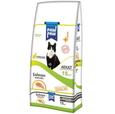 PawPaw - Paw Paw Sterilised Somonlu Kısırlaştırılmış Kedi Maması 15 Kg