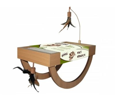 Pawise - Pawise Kartonlu ve Oltalı Beşik Kedi TIrmalama Oyuncağı 40 Cm