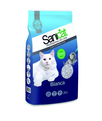 Sanicat - Sanicat Bianca Doğal Antibaktariyel Topaklanan Kedi Kumu 20 Lt
