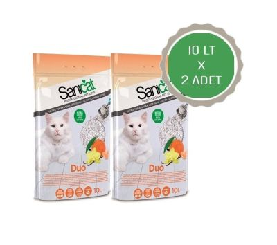 Sanicat - Sanicat Duo Mandalina ve Vanilyalı Doğal Kedi Kumu 2X10 Lt