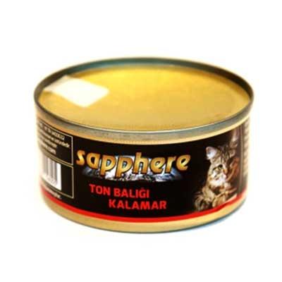 Sapphere - Sapphere Kalamar ve Ton Balıklı Kedi Konservesi 80 Gr