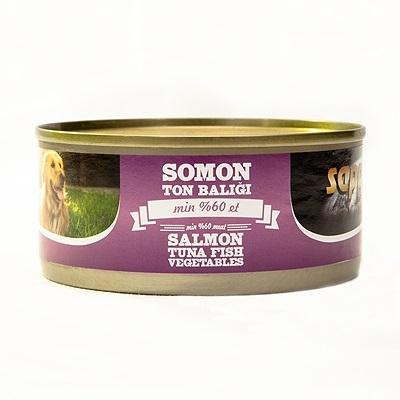 Sapphere - Sapphere Somon Ve Ton Balıklı Köpek Konservesi 165 Gr