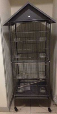 Diğer - Tekerlekli Lüks Çatılı Papağan Kafesi 60 x 60 x 168 cm