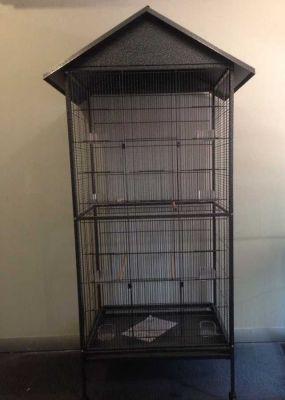 Diğer - Tekerlekli Lüks Çatılı Papağan Kafesi 76 x 61 x 186 cm