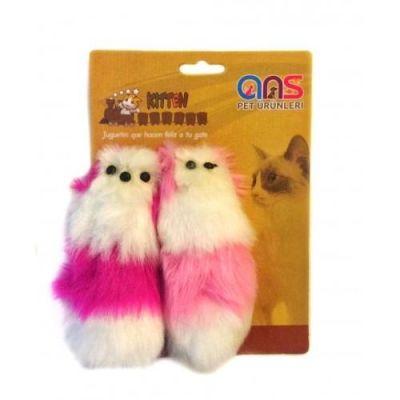 Diğer - Tüylü Sesli Kedi Oyuncağı 16 Cm